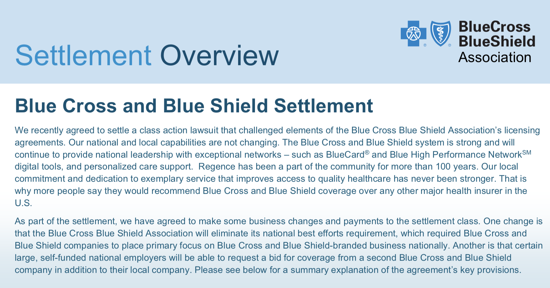 Blue Cross Blue Shield Settlement